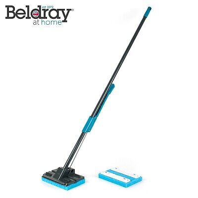 Beldray LA050915 Sponge Mop with Long Handle and Extra Sponge Head, Black/Blue