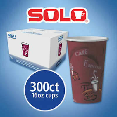 Solo Hot Drink Cups 16oz Maroon 300ct Paper Bistro Design, Coffee Cup, Use To go