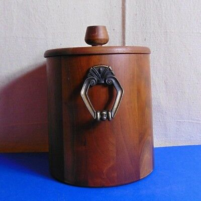 Vintage Joined Walnut Ice Bucket w/ Brass Handles in Very Good Condition c. 1970