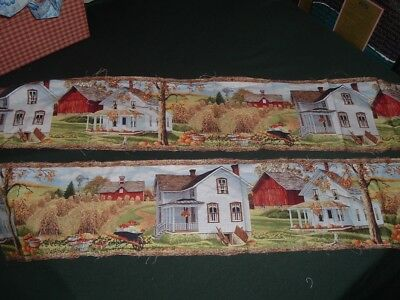 Vtg 90s Autumn Fall Harvest Border Panels Country Farms Houses Sew 34x6.5x2 pb7