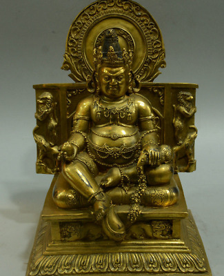 Tibetan Buddhism Temple Bronze Gilt Yellow Jambhala Wealth God Buddha Statue