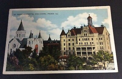 Early 20th Century Color Postcard St Francis Hospital an David Chapel Peoria IL