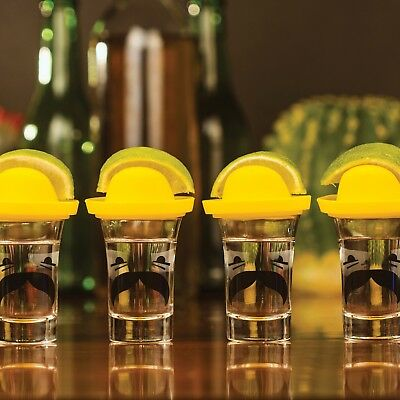 Thumbs Up Sombrero Tequila Shot Glasses -Set of 4 with Lids for Salt, Lime Wedge