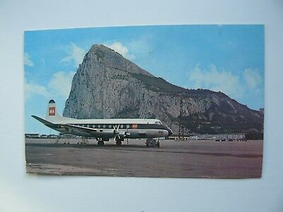 Gibraltar Airport Postcard showing British European Airways BEA Aeroplane 1965
