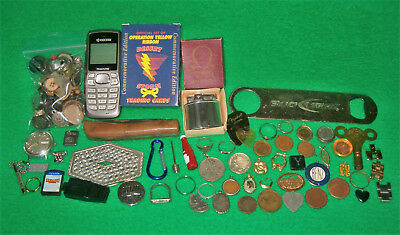 ESTATE / JUNK DRAWER LOT w/ OMEGA LIGHTER, POCKET KNIFE, TOKENS, TRACFONE and