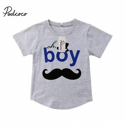 Mustache Print Toddler Kids Baby Boys Summer Shirt Tees Cute Outfit Clothes Suit