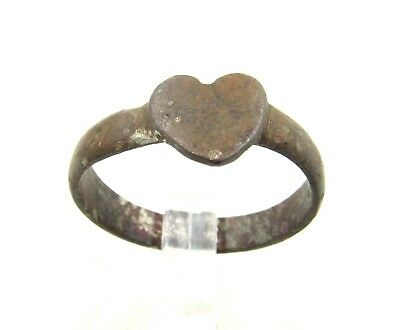 Authentic Medieval Bronze Renaissance Ring W/ Heart  - Wearable  - H347