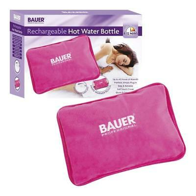 Bauer Rechargeable Electric Hot Water Bottle with Soft Touch Cover, Pink,