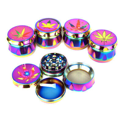 Shiny Rainbow Drum Shaped Tobacco Grinder 50mm Amsterdam Pattern 4 Part