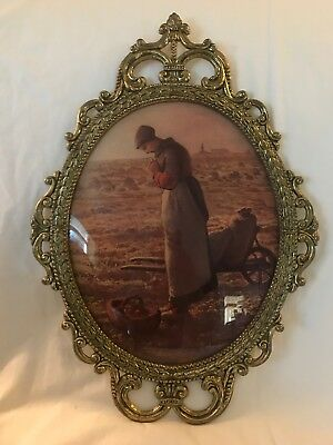 "Vintage Brass Ornate Metal Oval Picture Frame Convex Bubble Dome Glass 17""x12"""