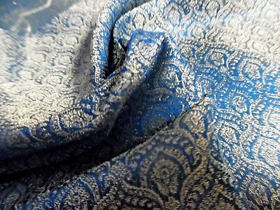 "MICRO JACQUARD PRINT SILK BROCADE~TEAL/GOLD/PEARL~9""x22""~DOLL DRESS FABRIC"