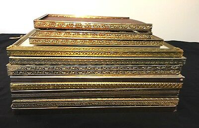 Vintage Lot Of 10 Brass Embossed Metal Picture Photo Frames Wedding Decor