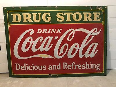 Antique Drug Store Sign Coca Cola Coke SODA FOUNTAIN PORCELAIN ART ADVERTISING