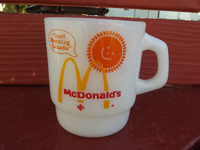 Mcdonald's Good Morning Canada Coffee Cup Mug Fire King White Milk Glass