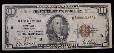 1929 100 Dollar New York  National Currency Paper Note   Circulated