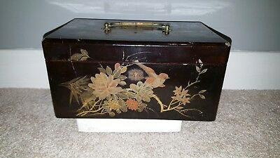 Vintage Chinese or Japanese wooden lacquered box