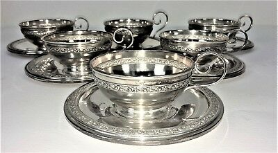 Set Of 6 Cups And Dishes. Silver 900/1000. Punched. Spain. Circa 1920