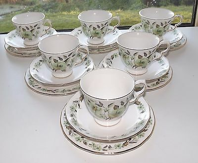 Vintage Colclough Green Poppies 6 x Trios Cup Saucer Plate Sedgley Pattern 8648