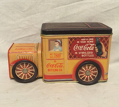 Coca Cola Delivery Truck Tin Container Wheels Turn 1995