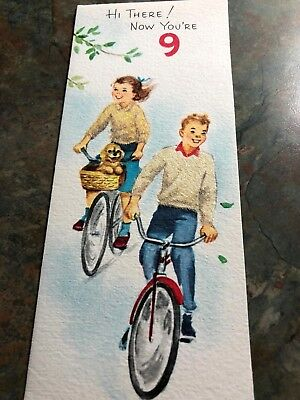 Girl Boy Teenagers Riding Bicycles Puppy Dog Basket Flocked Birthday Vtg Card