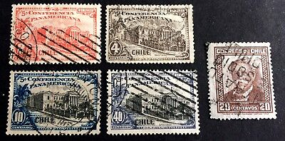 5 top old used stamps Chile