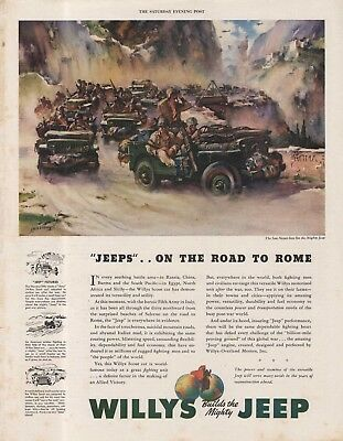 Vintage 1944 WILLYS JEEP Army Jeep Print Ad - Great Framer