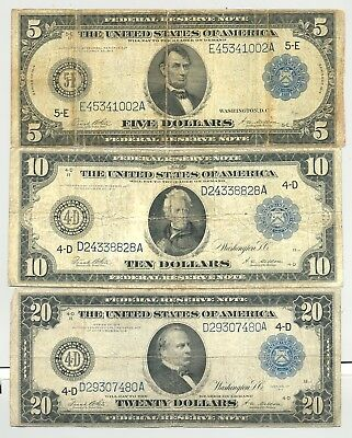 $5, $10, $20 Series 1914 Federal Reserve Notes nice condition no reserve
