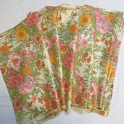 5 Yards Vtg Bloomcraft Fabric 5 Polished Cotton Chintz Floral Pink Yellow Orange