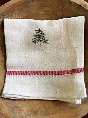 Primitive  Stitchery   Christmas Dish Towel with Evergreen Tree