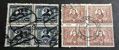 Poland 1923 - 2 x 4 old used stamps 1.000 & 3.000 M. - Michel No. 182 & 183