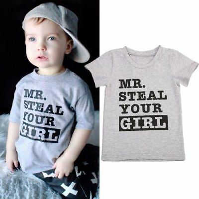 Crew Neck Shirt Letter Print Baby Boys Casual Cotton Tee Top Clothes Outfit Suit
