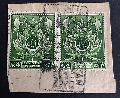 Pakistan 1951 - 2 used stamps on paper