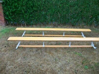 school gym benches Matching pair 3 metre long 300 mm deep onmetal supports