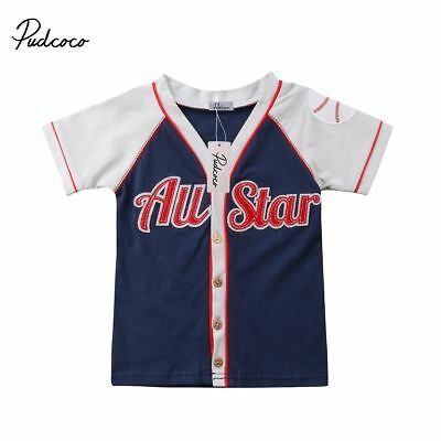 Baseball Cardigan Cute Toddler Kids Boys Girls Cotton Short Sleeve Casual Outfit