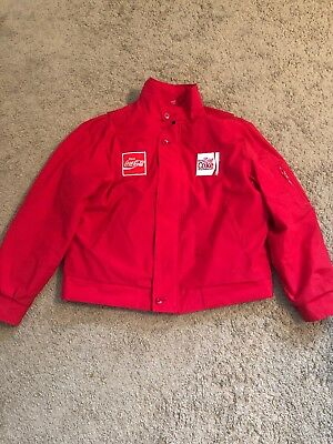 Vtg Unitog Usa Coca Cola  Coke Drivers Jacket Sewn Patches Size Xl Quilted Lined