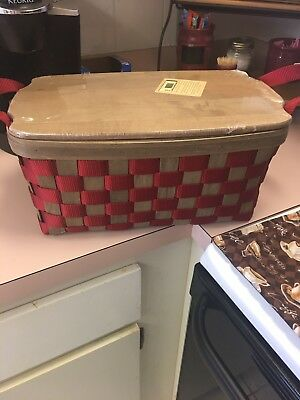 Longaberger Medium To Go Tote Side Handles Taupe w Protector, Lid & Pocket