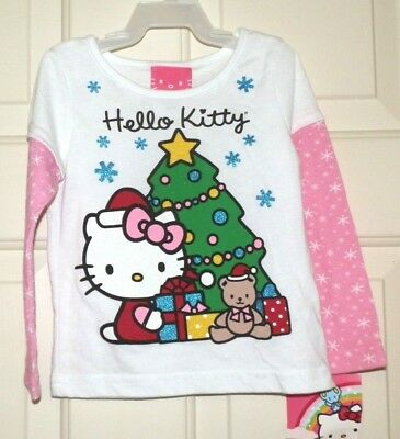 New Girls 18 Months Hello Kitty T-shirt Christmas Tree Long Pink Sleeves