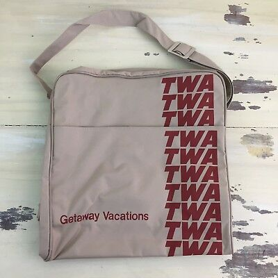 TWA - NEW Vtg 70s-80s Tan Canvas Duffle Gym Travel Airline Bag Luggage Carry On