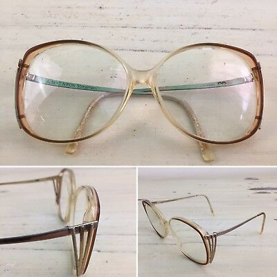 a019b9cd7a ALBERT NIPON - Vtg 1970s Brown   Gold Plastic Angular Grandma Eyeglasses  Frames