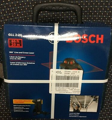 """New Bosch GLL 2-20 65ft 360"""" Line And Cross Laser"""