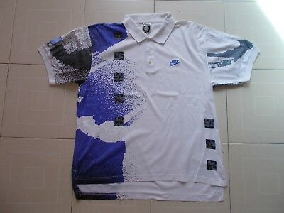 NIKE CHALLENGE COURT ANDRE AGASSI TENNIS Polo T-SHIRT RARE VINTAGE 90's SIZE L