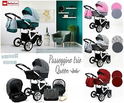 Passeggino Trio 3In1 Queen Navicella Carrozzina Fashion Ovetto Auto Accessori