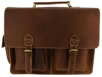 Viosi Genuine Leather Laptop Briefcase Messenger Bag - Includes RFID Protection!