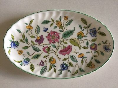 MINTON HADDON HALL - Oval Tray Chintz Floral Design with Green Trim