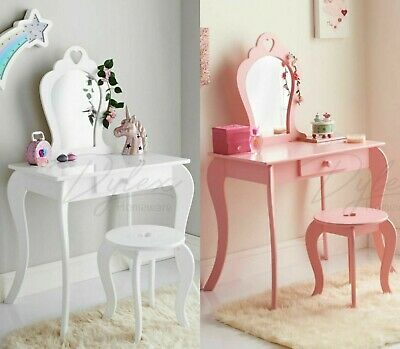 Amelia Dressing Table, Bookcase, Cabinet PINK & White Cute Girls Room