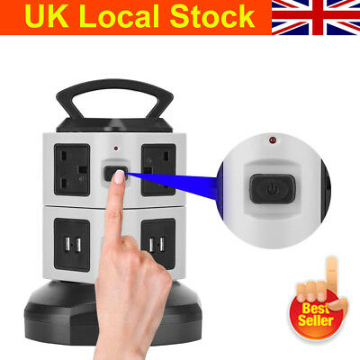 Safety Socket Tower Mains Power Extension Lead Multi Way USB Port Adaptor Plug
