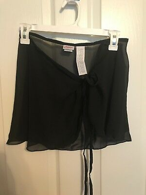 Capezio Black Sheer Ballet wrap around skirt M/L