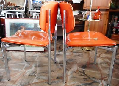 Vintage Shelby Williams Chrome And Orange Vinyl Chairs Local Pick Up