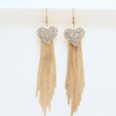 Chic Ladies Love Heart Shape Tassel Earrings Anniversary Party Jewellery one
