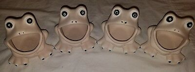 Lot of 4 White Ceramic Frog Kitchen Sponge Scrubber Holder Ready to be painted